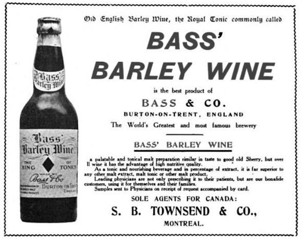 Одна из первых реклам барливайна от Bass, 1907 год