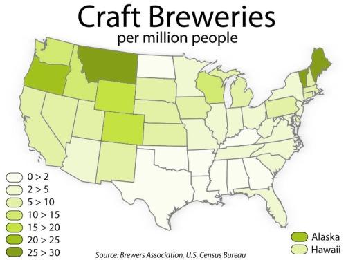 Количество крафт пивоварен на 1.000.000 человек